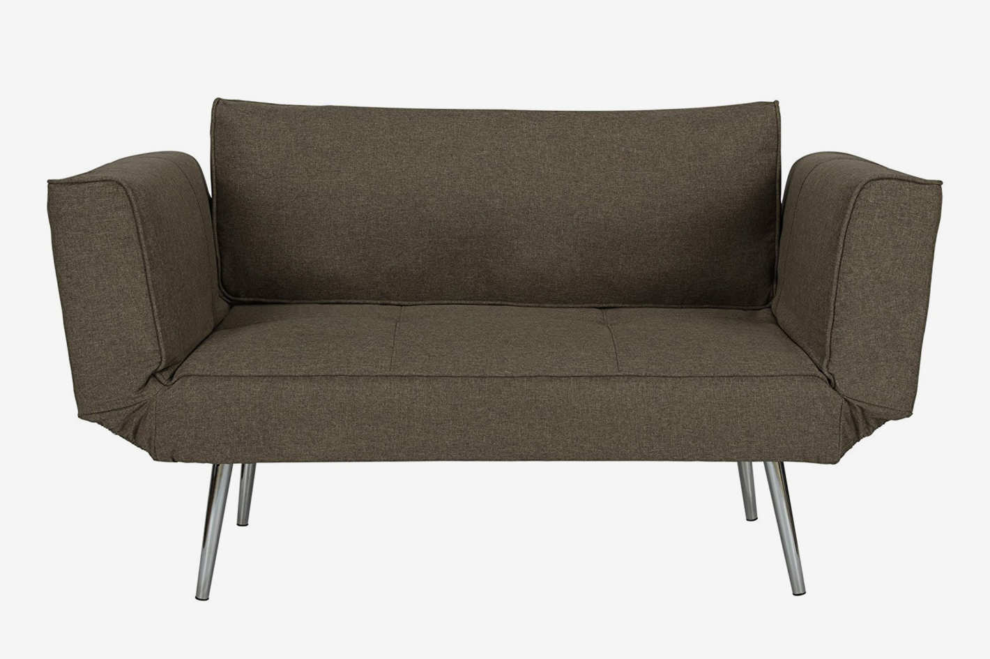 DHP Euro Sofa Futon Loveseat With Chrome Legs and Adjustable Armrests