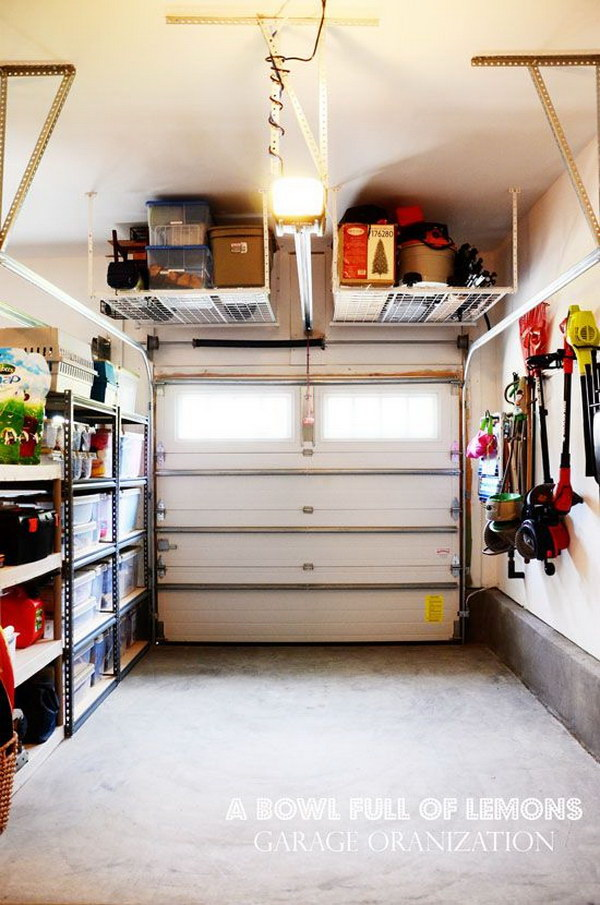 Tuck up and away Shelving in the Garage.