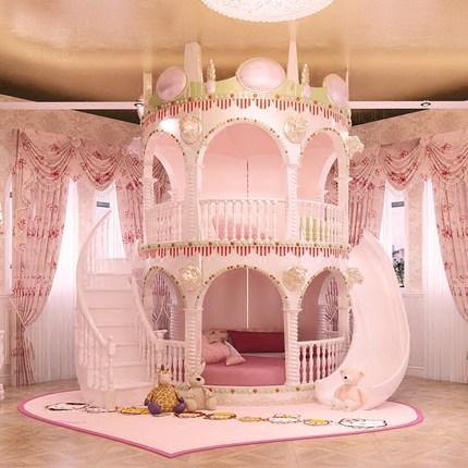 Bedroom Princess Girl Slide Children Bed , Lovely Single Pink Castle