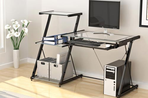 Glass Computer Desk Featured with Some Drawers | BellesOfBedlam.com
