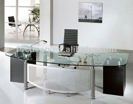 FKS-HD-ED024 Modern glass top office desk | $$$$$S in 2019