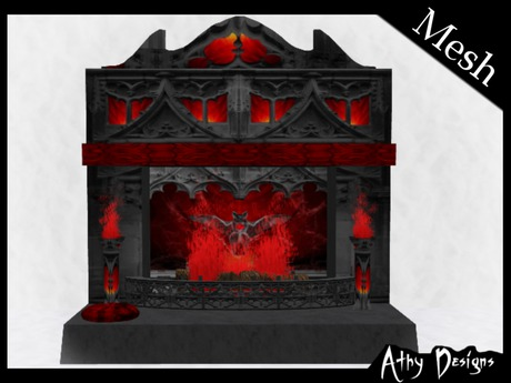 Second Life Marketplace - Mesh Vampire Bat Fireplace - Gothic Furniture