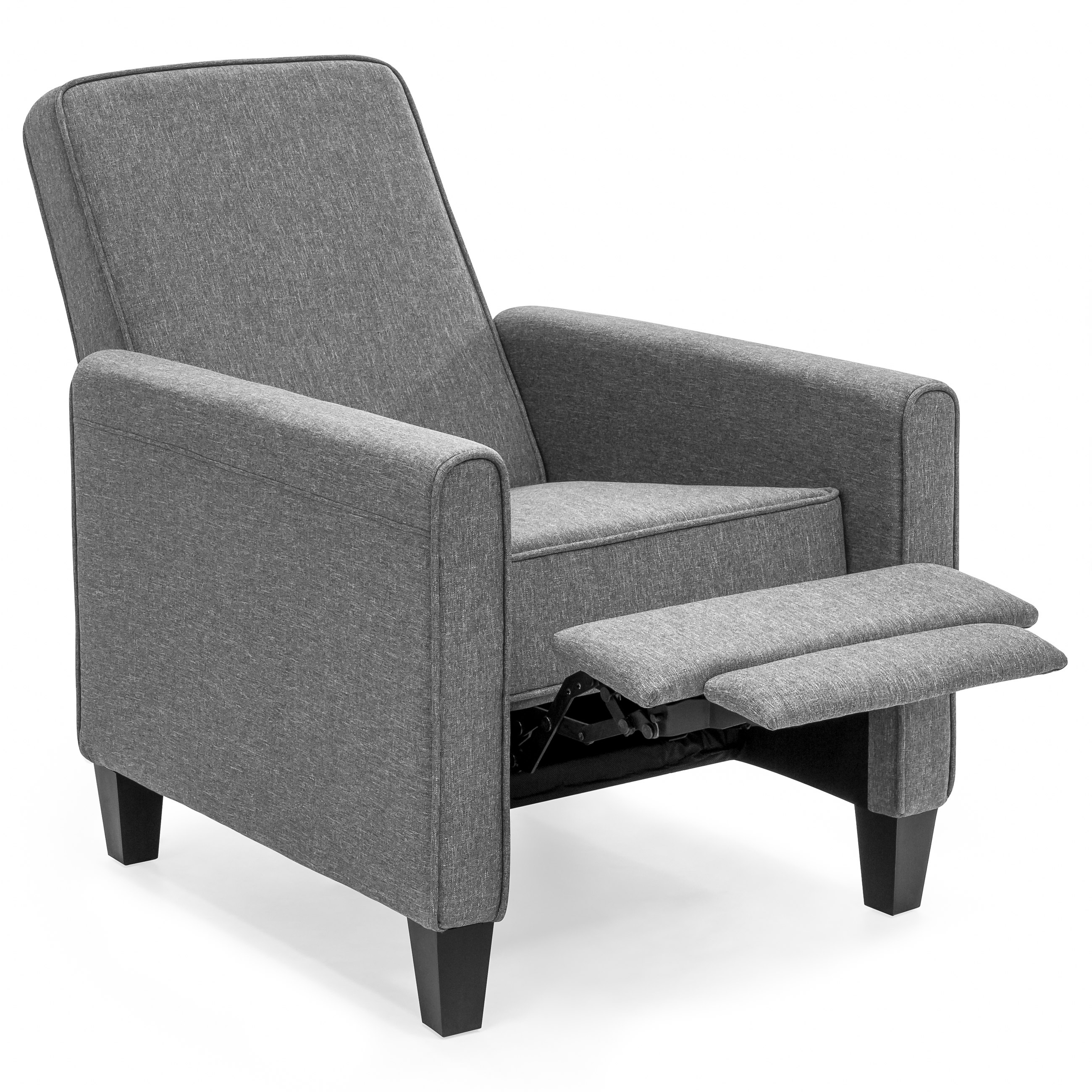 Best Choice Products Modern Sleek Upholstered Fabric Padded Executive  Recliner Club Chair w/ Leg Rest