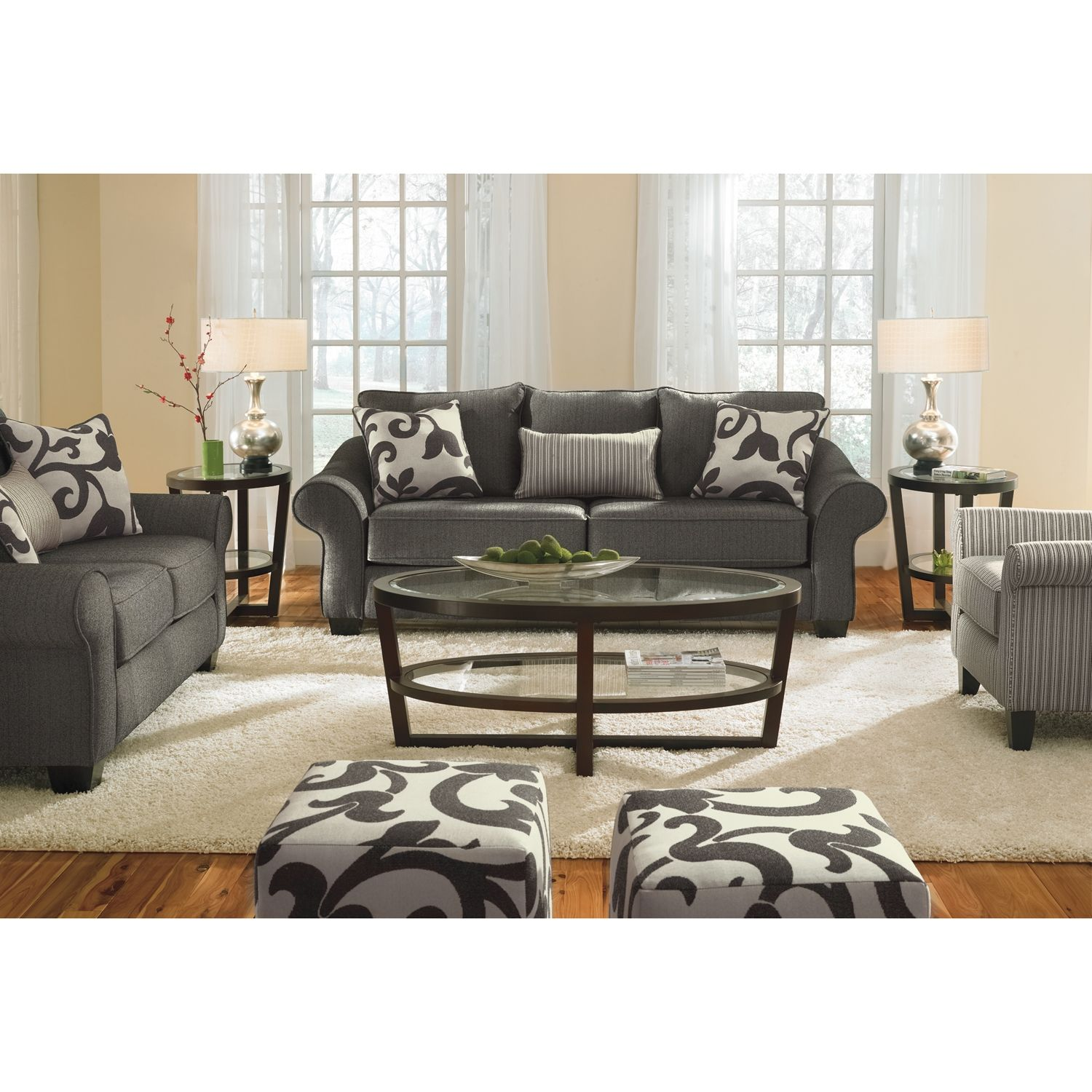 Value City: Colette Gray Sofa (with photos of the loveseat, chair, and  ottomans) ~ These are so much cheaper than the La-Z-Boy collection but.