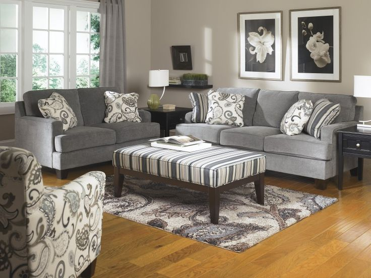 Sofa, Gray Cloth Sofa And Loveseat Classic Design Of White Batik Box  Cushionn And White