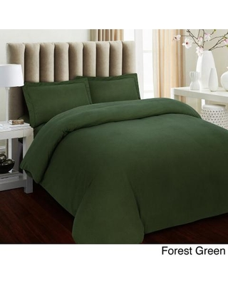 Solid Flannel 3-piece Duvet Cover Set (King - Dark Green)