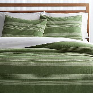Monterey Green Striped Duvet Covers and Pillow Shams