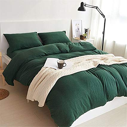 YAMFEI Luxury Jersey Cotton Solid Emerald Green Duvet Cover Set Queen Size  3 Pieces Bedding Comforter