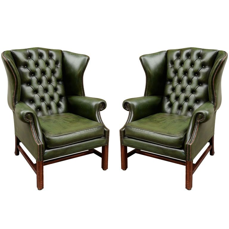 Pair of English Green Leather Wingback Chairs. two wordsGREEN. LEATHER.