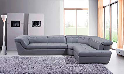 Image Unavailable. Image not available for. Color: 397 Modern Grey Italian Leather  Sectional Sofa