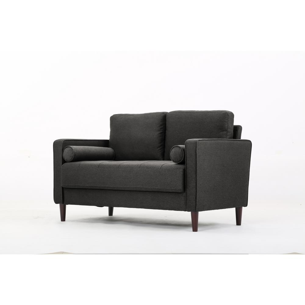 Lifestyle Solutions Lillith Mid Century Modern Loveseat with Tufted Seating  in Heather Grey
