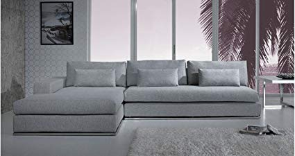 Image Unavailable. Image not available for. Color: Light Grey Fabric Sectional  Sofa