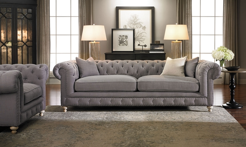 Picture of Francis Drake Chesterfield Grey Sofa