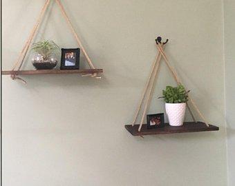 SET OF 2 Hanging Rope Shelves, Floating Wooden Shelves, Rustic Hanging  Shelves, Rustic Home Decor, Wood Wall Shelf, Rope Hanging Shelves