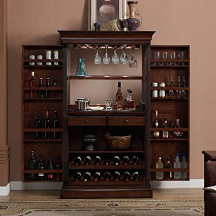 Amazon.com: Ashley Heights Home Bar Wine Cabinet: Kitchen & Dining