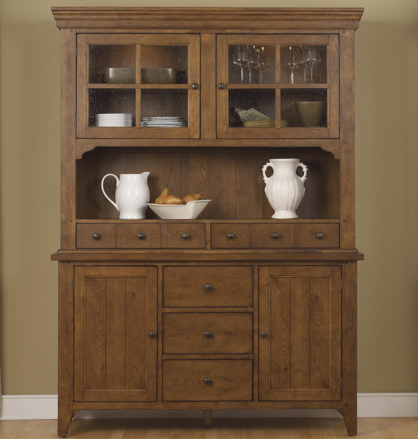 Hearthstone Mission Style Buffet with China Hutch by Liberty Furniture