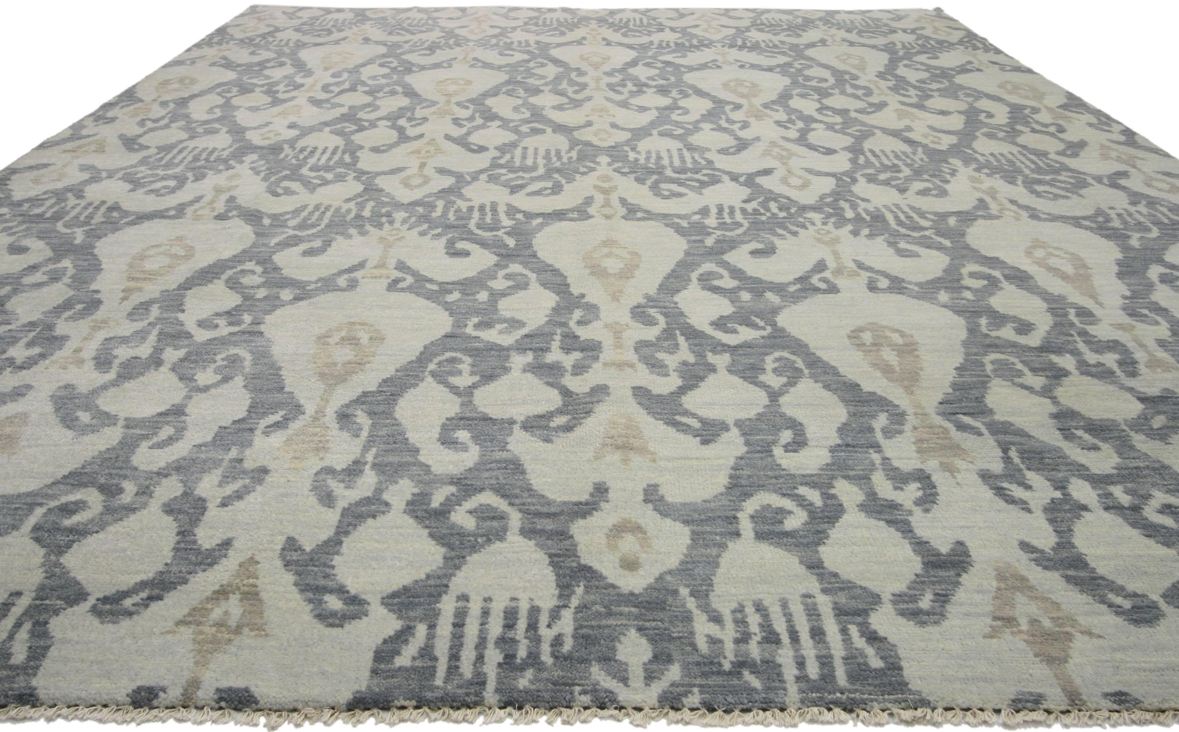 Indian New Modern Transitional Ikat Style Area Rug, Gray-Blue Ikat Rug For  Sale