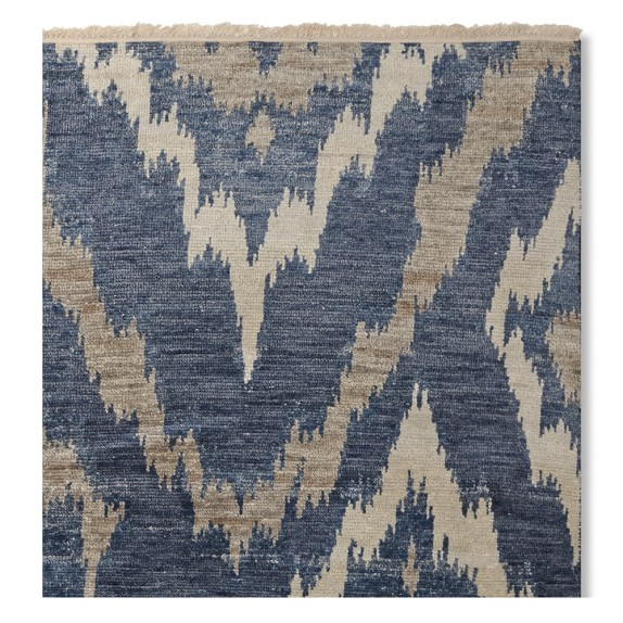 River Ikat Hand Knotted Rug, Blue/Grey