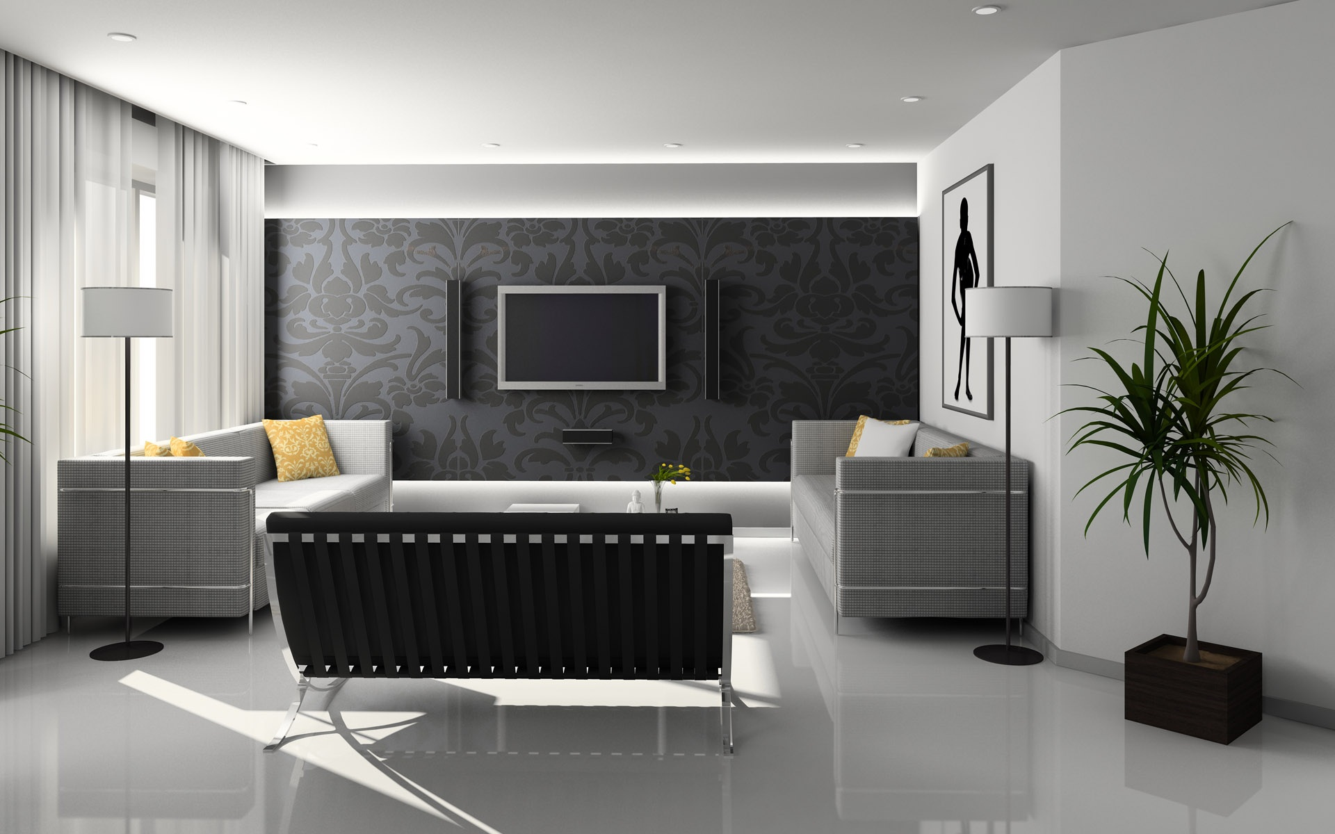 Flat Screen Monitor on Wall Near Sofa Set. Pixabay. Interior Design Of A  House