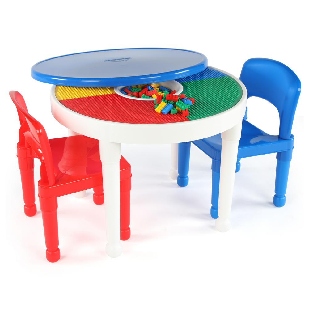Tot Tutors Playtime White 2-in-1 Plastic LEGO-Compatible Kids Activity Table