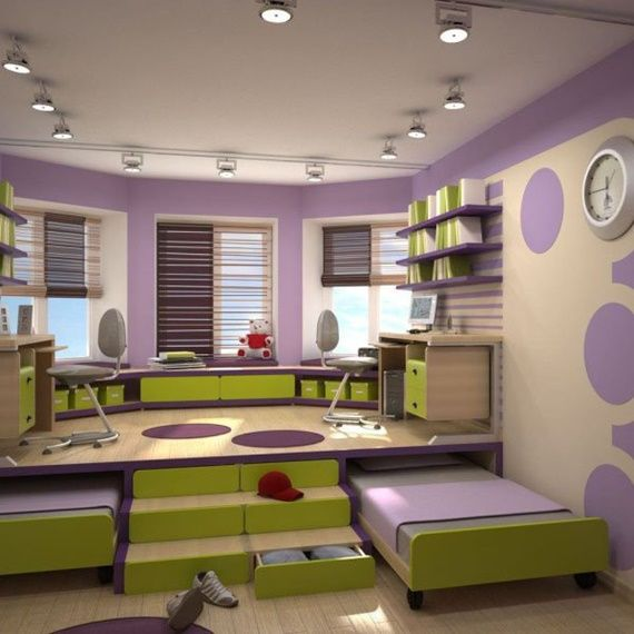 Slide Out Under Floor Bed-Space Saving Kids Room #Furniture Design and  Layout