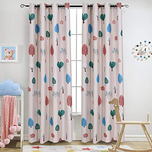 Melodieux Cartoon Trees Room Darkening Blackout Grommet Top Curtain/Drapes  for Kids Room, 52