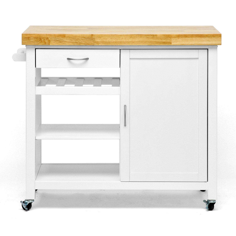 Traveller Location: Baxton Studio Denver Modern Kitchen Cart/Island With Butcher  Block Top, natural, White: Kitchen & Dining