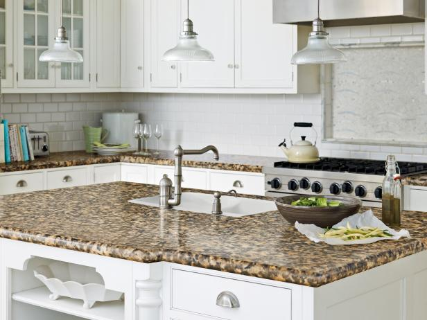 Imitation Granite Countertop in Traditional White Kitchen