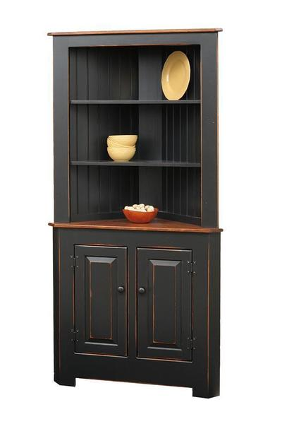 Amish Primitive Pine Corner Kitchen Hutch