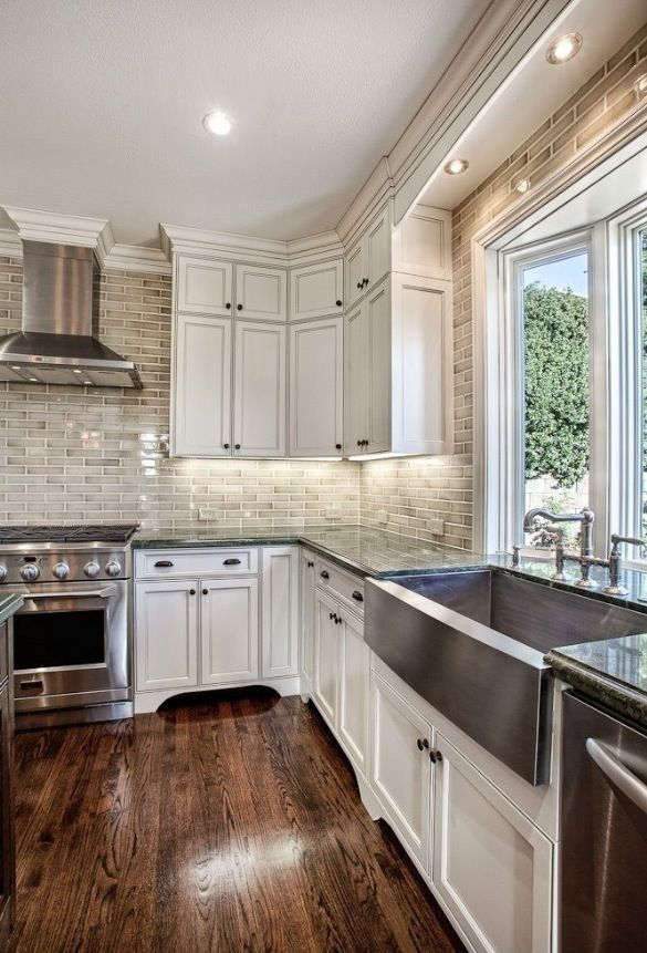 Hardwood Laminate Flooring for Kitchen White Cabinets, Hardwood Floors and  that Backsplash White Cabinet Kitchen