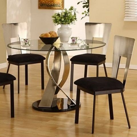 Round glass kitchen table sets 2
