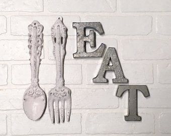 Kitchen Wall Decor, EAT Sign, Farmhouse Kitchen, EAT, Kitchen Wall Art,  Fork and Spoon, Rustic Kitchen, Kitchen Wall Hanging