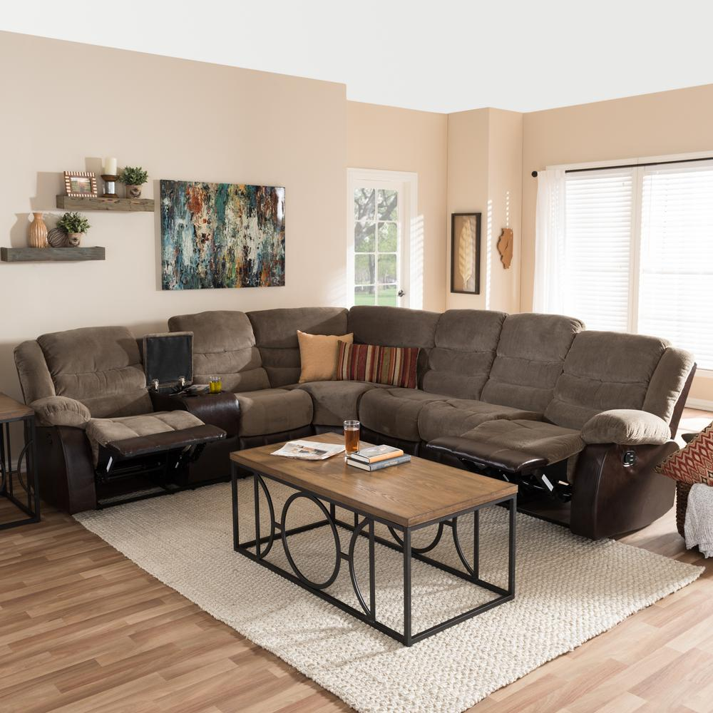 Baxton Studio Robinson 4-Piece Contemporary Taupe Fabric Upholstered L-Shaped  Sectional Sofa