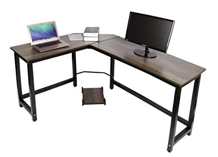 Easeurlife L Shaped Computer Desk Corner Desks for Home Office PC Laptop  Workstation with Computer Case