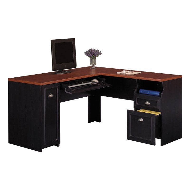 Bush Cabot L Shaped Computer Desk with Hutch in Espresso Oak - Traveller Location