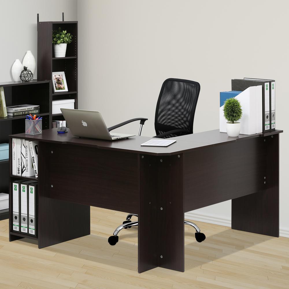 Furinno Indo Espresso L-Shaped Desk with Bookshelves