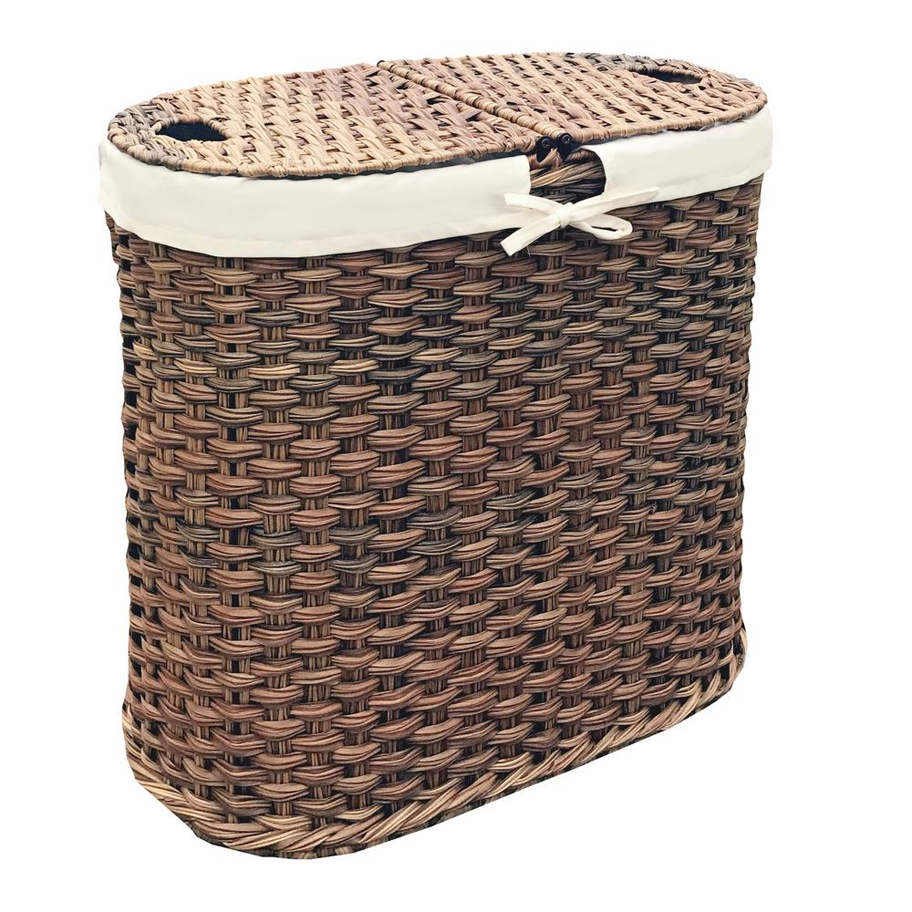 Seville Classics Mocha Hand-Woven Oval Double Laundry Hamper with Removable  Liner