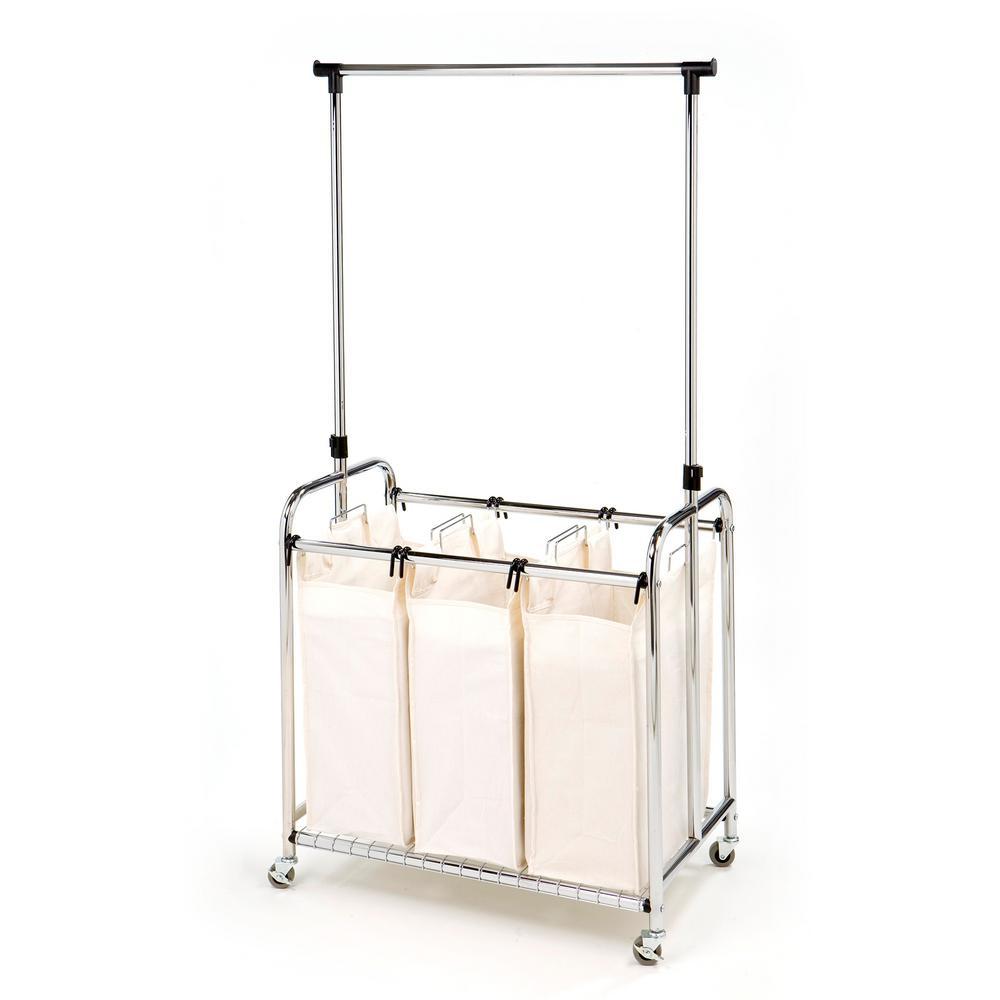 Seville Classics 3-Bag Heavy-Duty Laundry Hamper Sorter Cart with Clothes  Rack