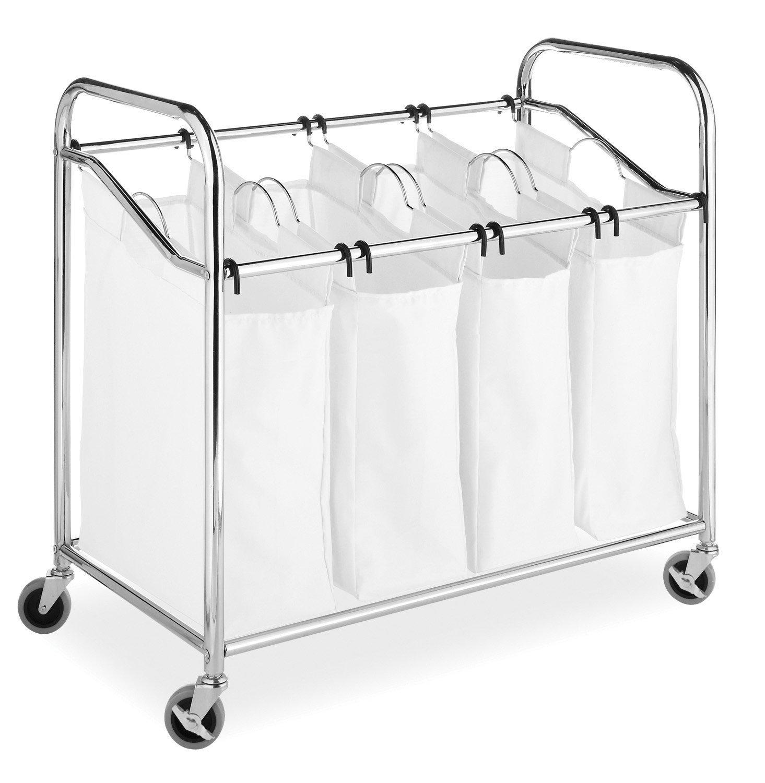 Whitmor 4-Section Laundry Sorter with Wheels Chrome & White - Traveller Location