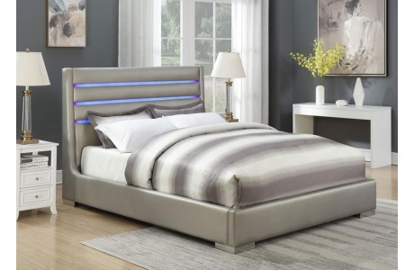 Gibson Metallic Gray Leather Bed