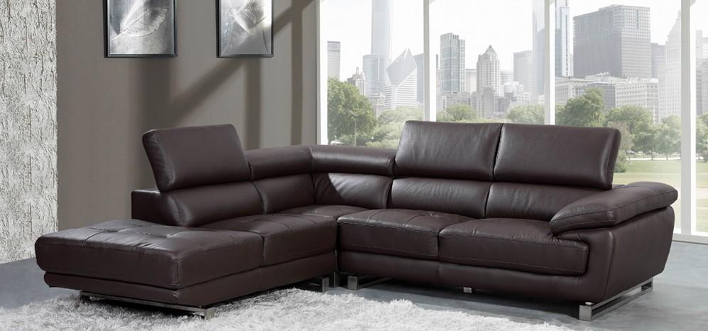 Valencia Espresso Brown Leather Corner Sofa Left Hand Facing