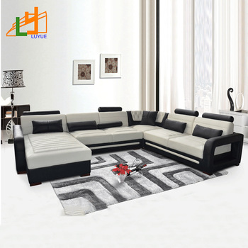 classic design l or u shaped genuine leather corner sofa royal furniture  living room 7 seater