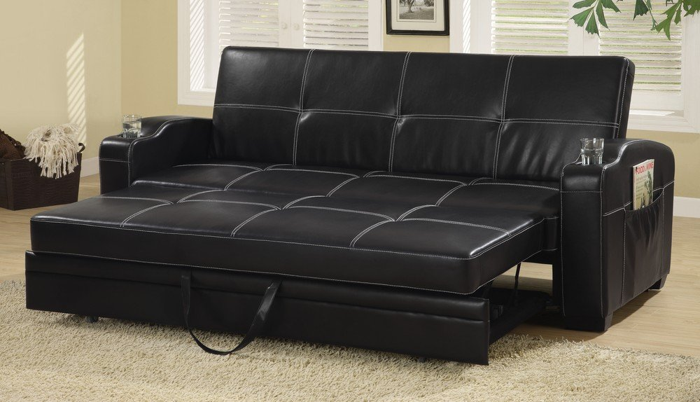 Traveller Location: Sleeper Sofa Bed with Storage and Cup Holders Black: Kitchen &  Dining