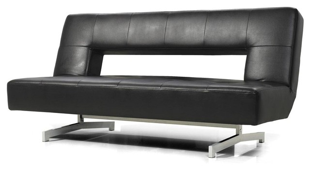 Black Eco-Leather Sofa Bed - Modern - Futons - by New York Furniture  Outlets, Inc.