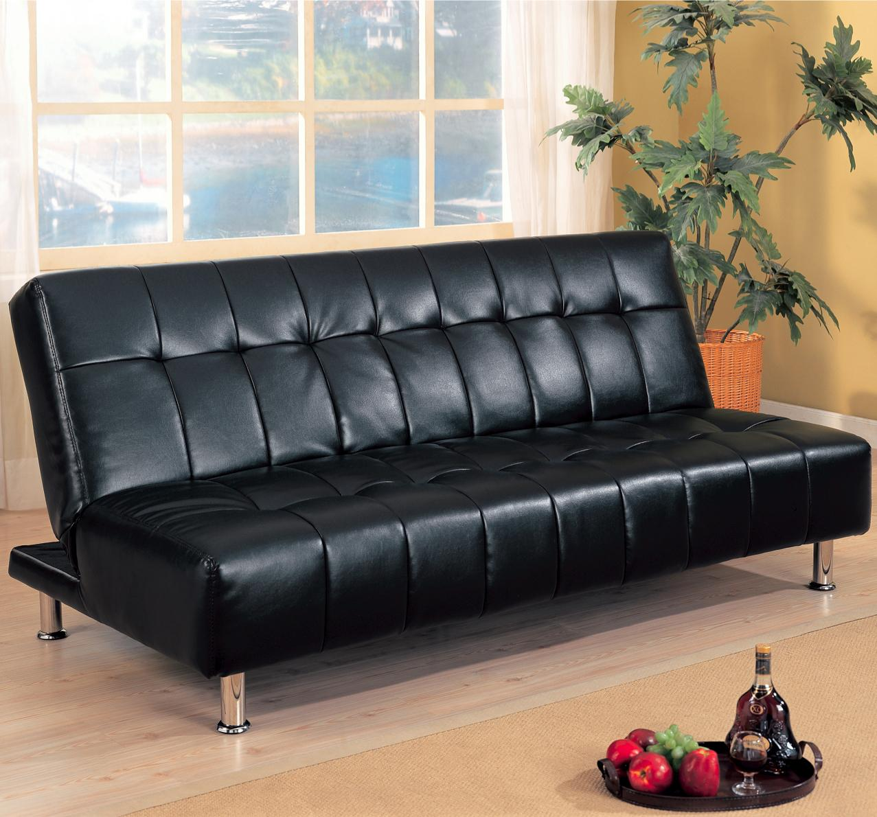 Armless-faux-leather-futon-sofa-bed