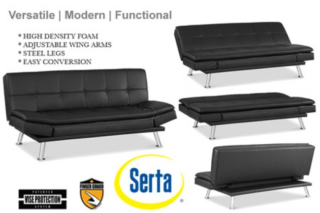 Black-Leather-Niles-Serta-Euro-Lounger-Sofa-Bed