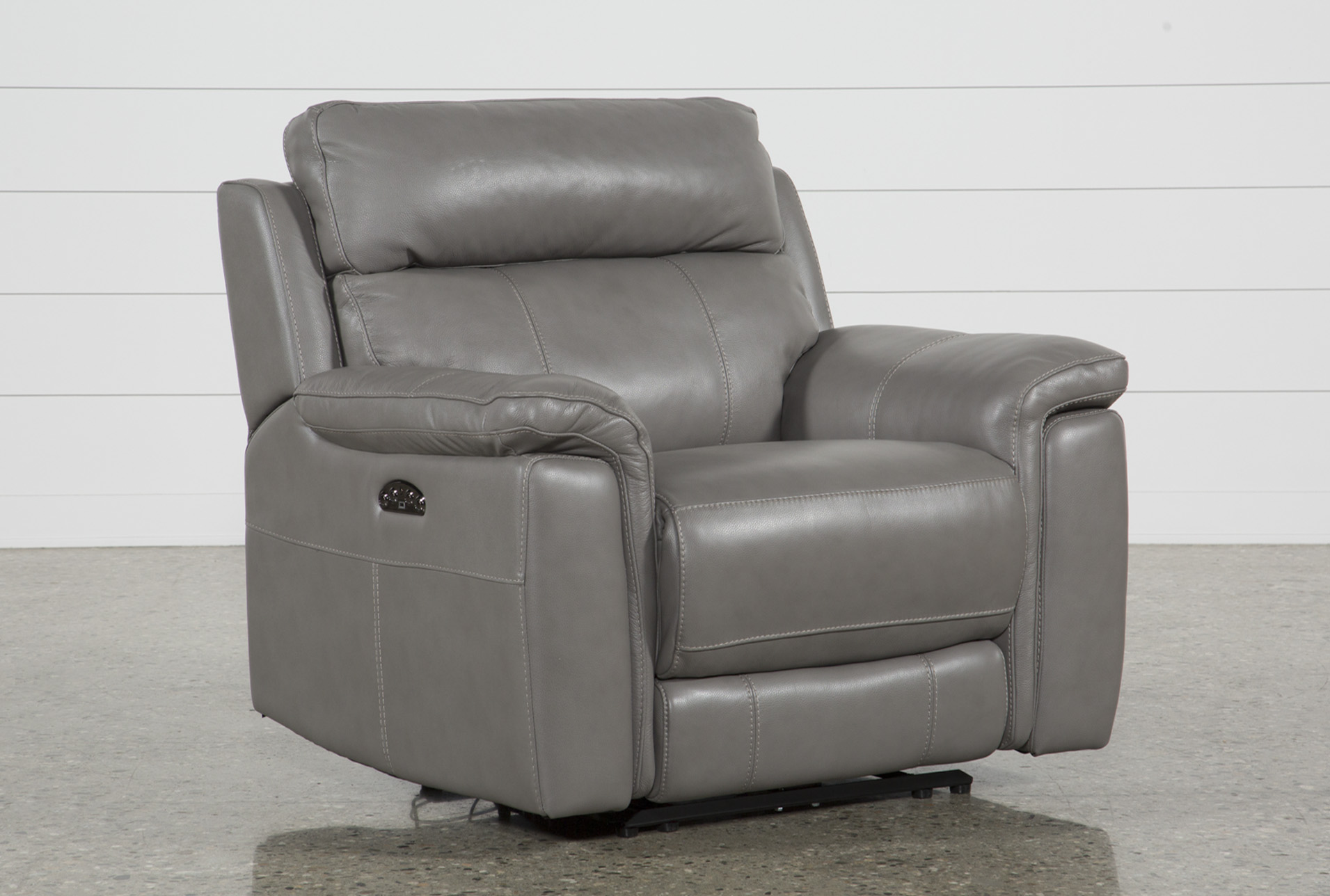 Dino Grey Leather Power Recliner W/Power Headrest & Usb (Qty: 1) has  been successfully added to your Cart.