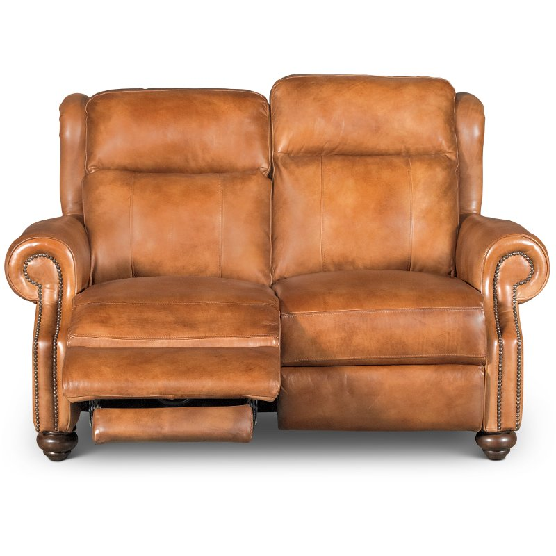 Whiskey Light Brown Leather Power Reclining Loveseat - Hancock | RC Willey  Furniture Store