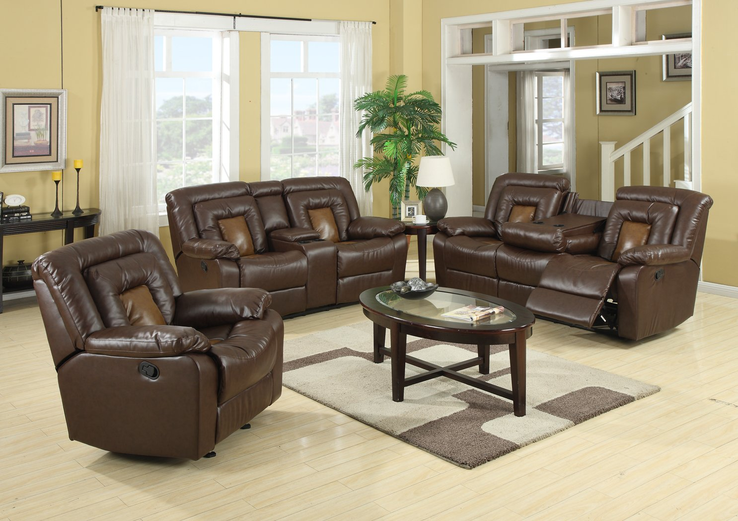 Traveller Location: GTU Furniture Cobra Pu-Leather Reclining Sofa Loveseat Recliner  Set, Luxurious Living Room Furniture (Sofa & Loveseat, Brown): Kitchen &  Dining
