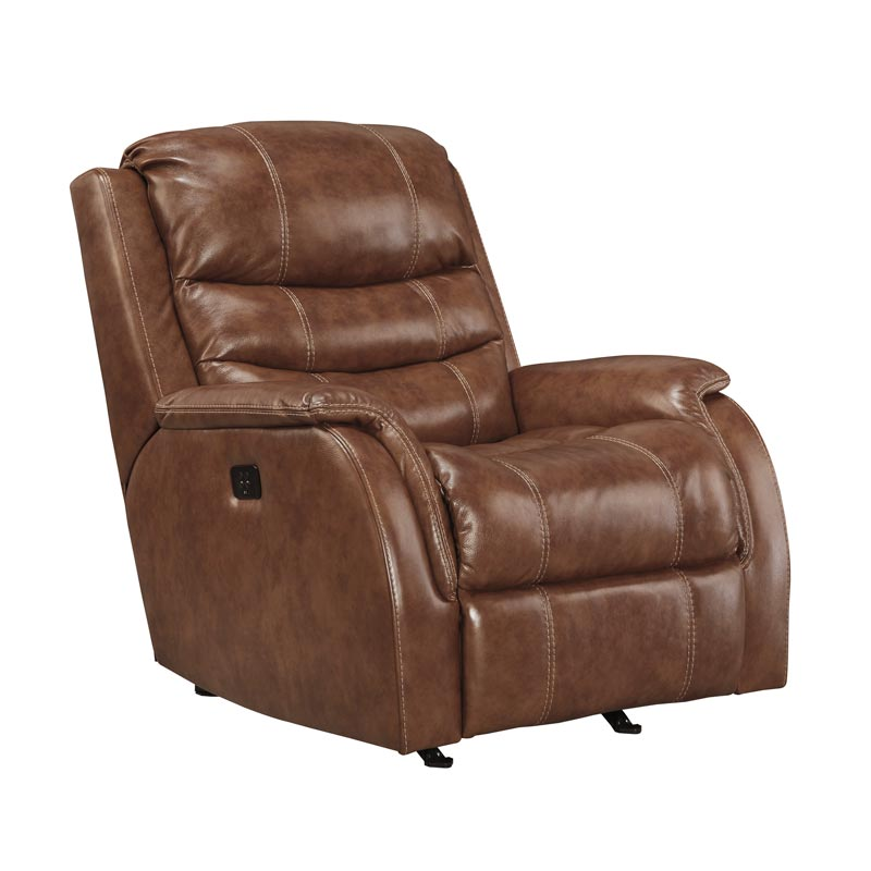 Ashley Metcalf Nutmeg Power Leather Rocker Recliner | Weekends Only  Furniture